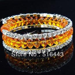 2017 cristales checo pulseras Las pulseras esqueléticas de los brazaletes de los encantos de los Rhinestones checos cristalinos anaranjados de 12pcs 3rows venden al por mayor la joyería A-710 de la manera cristales checo pulseras Rebaja