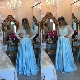 Wholesale 2017 Lace Long Sleeves Satin A Line Barbara Melo Prom Dresses with White Lace applique bodice floor Length Forml Evening Gowns