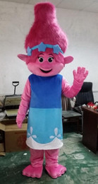 2017 New Mascot Costume Trolls Branch Mascot Parade Quality Clowns Birthdays Troll party fancy Dresss free shipping