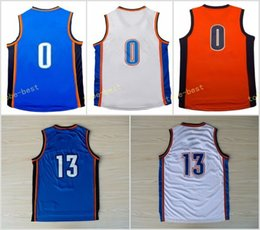 New 2017 Traded 13 Paul George Jersey Men Blue White Orange UCLA Bruins College Basketball 0 Russell Westbrook Jerseys Stitched Top Quality