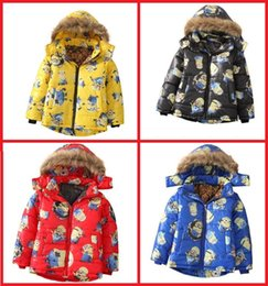 Wholesale Cotton Padded Jacket Baby - Boy winter jacket 2016 baby cartoon warm jacket hooded candy color 4-7 years children's fashion cotton-padded jacket AB
