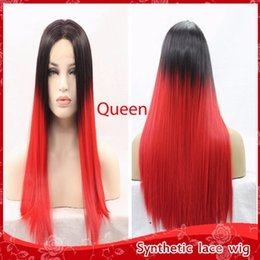 Fashion Glueless Brazilian Lace Front Wigs Silky Straight Ombre Red Hair Wigs with Baby Hair Cheap Synthetic Wigs for black women