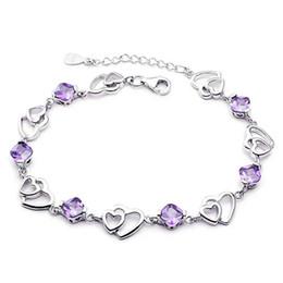 925 sterling silver bracelet fashion jewelry charm bracelets rhinestone chain pulseras purple color heart shaped fashion