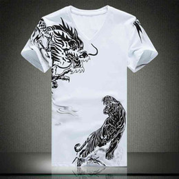Chinese style China Chinoiserie wind t shirt, mens animal iconic tiger dragon print t shirt design, cool wet t shirt ideas store