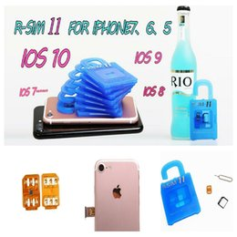 Wholesale Sim Unlock Adapter Card - Unlock card R SIM 11 RSIM11 r sim11 rsim 11 for iPhone 5 6 7 6plus iOS7 8 9 10 ios7-10.x CDMA GSM WCDMA SB AU SPRINT 3G 4G 30pcs
