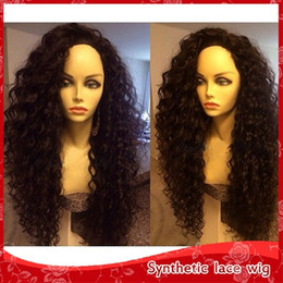 Cheap Synthetic kinky curly lace front wigs afro kinky curly wigs for african american synthetic wigs heat resistant high quality 1#