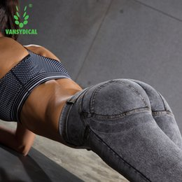 Marque Vansydical Sports Gym leggings femme pêche pêche sexy hip push up pantalon taille basse yoga stretch fitness pantalon FBF094 à partir de fabricateur
