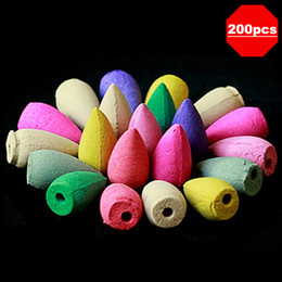 Wholesale 200 Pieces Mixed Color Aroma Home Fragrance Natural Backflow Tower Incense Cones for Air Fresh Help Sleeping Praying Health Care