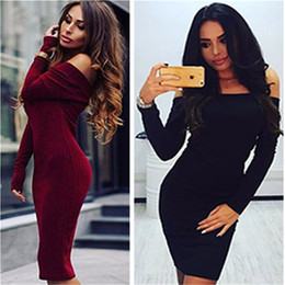 Wholesale Hot Sale Women s Dresses Slash Neck Pit Autumn And Winter Fashion Pullover Pencil Dresses Miniskirt Long Sleeve Black