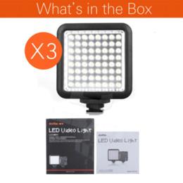 Descuento soportes de cámaras digitales 3PCS Godox LED 64 lámparas de la cámara fotográfica Video lámpara LED64 Luces para Nikon Canon Sony Cámara digital videocámara DV