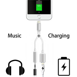 Wholesale Charging Music Audio Adapter for Iphone Plus mm Headphone Convertor Adapter Charging cable