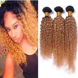 27 bouclés ombre à vendre-Brésilien Cheveux Vierges Ombre Tone 1b 27 Cheveux Cheveux Bouclés Brésilien Bouclé Deep Jerry Curry Dark Root Miel Cheveux Blonds