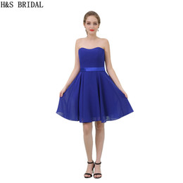 Cheap Royal Blue Chiffon Bridesmaid Dress Knee Length Simple Style Strapless Sale Party Prom Dresses B051