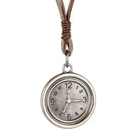 El reloj punky de las mujeres de los hombres de la joyería de la roca del cuero de la vendimia punky del collar de la cuerda de la cera colgó el envío libre desde mujer del reloj del collar proveedores