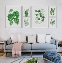 Wholesale Aquarelle moderne Feuille tropicale Affiches Toile Art floral floral Feuilles d art Living Room Photos murales de cuisine Peintures Décoration intérieure Pas de cadre