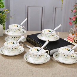 Bone China Teacups Coffee Cups & Saucers Sets with Spoons-10.4Oz, for Home, Restaurants, Display & Holiday Gift for Family or Friends