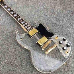 Calidad SG Guitarra eléctrica, guitarra de acrílico del cristal, cuerpo de acrílico del Fingerboard con la luz del LED, guitarra de encargo, venta al por mayor al por menor desde cuerpo sg fabricantes