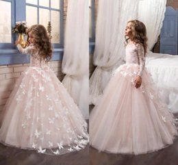 2020 Princeess Sheer Jewel Neck Lace Flower Girl's Dresses Long Sleeves Lace Appliqued Bow Flower Kid's Formal Wear First Communion Dresses