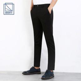 Wholesale Venta al por mayor hombres pantalones casuales pantalones de diseño de marca de negocios Pantalones de vestir hombres de la boda social Slim Fit pantalones de algodón de moda de moda
