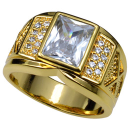 Men's 18K Yellow Gold Filled Ring Clear Zirconia Cubic Size8-15 r206
