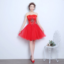 2017 New Princess Evening Dresses Elegant Girls Women Bride Gown Fashion Red Short Ball Prom Party Homecoming Graduation Formal Dress