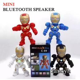 Wholesale C Bluetooth Mini Speaker Iron Man With led Flash Light Deformed Arm Figure Robot C89 Portable Mini Wireless Subwoofers TF FM USB Card