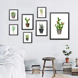 Wholesale Aquarelle nordique plante végétale succulente toile d art toile poster ensemble de cactus peintures murales décoration intérieure moderne sans cadre DP0091