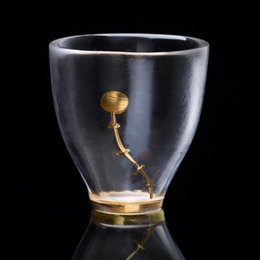 Wholesale New Arrivals Golden Peachblossom Frosted Glass Cup For Tea For Tass For Cappie Wine Cup Free shopping Quality NO.1