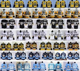 Promotion série de hockey 2017 Pittsburgh Penguins Stadium Série Hockey Maillots 13 Nick Bonino 30 Matt Murray 71 Evgeni Malkin 81 Phil Kessel 87 Sidney Crosby Jersey