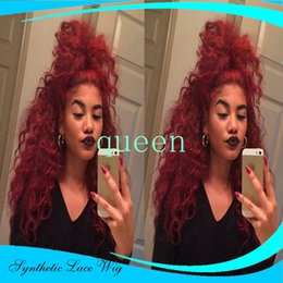 Wholesale Hot Selling Loose Curly Malaysian Hair Wigs Synthetic Lace Front Wigs Black Bouncy Heat Resistant Synthetic Hair Wigs