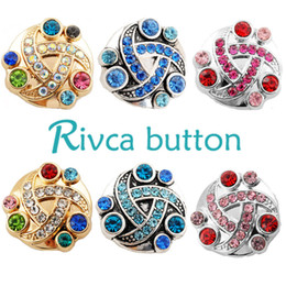 D01022 Rivca Snaps Button Jewelry Hot wholesale High quality Mix styles 18mm Metal Ginger Snap Button Charm Rhinestone Styles NOOSA chunk