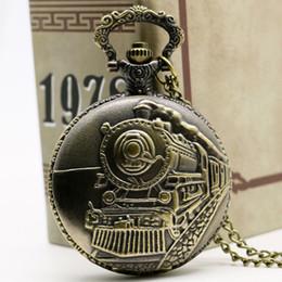 Wholesale Antique Train Front Locomotive Engine Necklace Pendant Quartz Pocket Watch P107