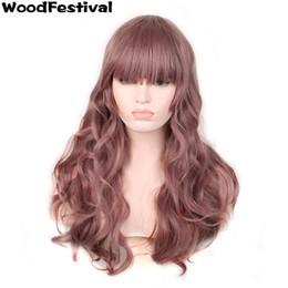 WoodFestival harajuku hair wigs with bangs purple ombre pastel taro wavy wig curly heat resistant synthetic fiber wigs lolita