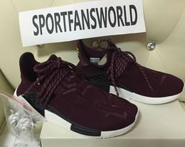 Wholesale Human Race Amis et famille taille Rouge de vin Pharrell Williams X NMD Haut Originals REAL BOOST Bottom avec des mamelons Hommes Chaussures de course