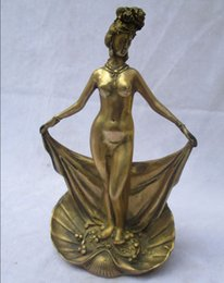 Wholesale Collectible Decorated Brass Carved Beautiful Bathing Women Sculpture Antique Women statue