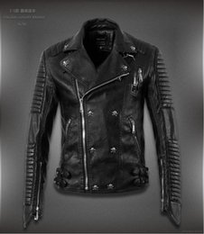 Wholesale 2016 mens slim fit star famous brand pp skull punk designer style rock medusa g biker men homme leather motorcycle jacket coat balmain