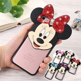 Wholesale 2017 Diamond Bling Mickey Minnie Mouse Ear Bear Case D Cute Cartoon Soft TPU PC Clear Back Cover for iPhone Plus s Plus s se