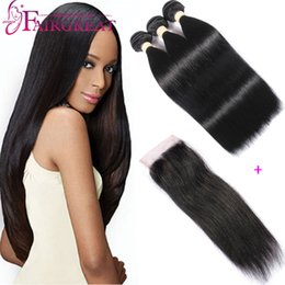 Wholesale Brazilian Straight Human Hair Bundles With Closure Brazilian Human Hair With Lace Closure A Unprocessed Straight Hair Weaves With Closure