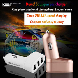 Wholesale Earldom Best selling Car Charger A Drag Three Car Cigarette Lighter A Sub three Mobile Phone Power Converter USB For Iphone s