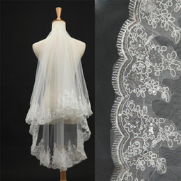 New WholSale Hot Sell Two Layers 1.5M White Ivory Wedding Veil For Weddings Accessories Sequins Hem Bridal Head Veil with Comb
