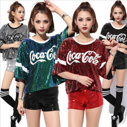 Hip-Hop T Shirt Women Sequined costumes Letter Loose Paillette Jazz DS Costume Tops For Women Bar Club DJ Pole Dancing Shirt