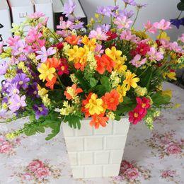 silk flower heads 1 Bouquet 28 Heads Dedicated Trendy Fake Daisy Silk Flower Home Wedding Decor
