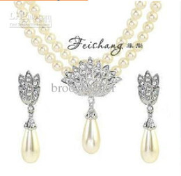 Silver Plated Clear Rhinestone Crystal Double Strand Ivory Pearl Drop Bridal Necklace and Earrings Jewelry Set