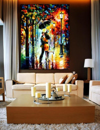 Modern Oil Painting (No Frame) Abstract Street Scene Canvas Lovers Giclee Wall Art picture for Living Room Home Decoration (Size:5 sizes)