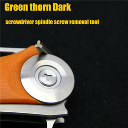 Wholesale DIY Green thorn made Dark Flipper tactics folding Blade special screwdriver spindle screw tool Stainless Steel hunting knives pocket knife