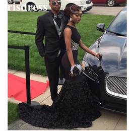Sexy Little Black Prom Dresses Mermaid Sleeveless Lace Sequined Layers Ruffles Evening Dresses African American Couple Fashion Gowns