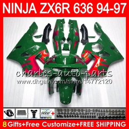 8Gifts 23Colors For KAWASAKI NINJA ZX636 ZX6R 94 95 96 97 ZX-6R ZX-636 red flames 33HM7 600CC ZX 636 ZX 6R 1994 1995 1996 1997 Fairing kit
