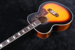 Promotion acoustique de érable flammé Vente en gros - 2016 haute qualité populaire nouvelle arrivée chinoise J200 tigre flamme Maple solide top guitare acoustique avec Fishman J200 guitare électrique