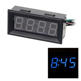 Wholesale Blue LED Clock Voltage Temperature Digital Display Thermometer Voltmeter Electrical Test Meters Digital Car Volt Gauge