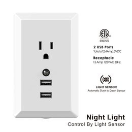 Dual 2.4 A USB port US plug, wall adapter, wall plate socket, travel charge with night light dusk to dawn for mobile phone Samsung Ipad